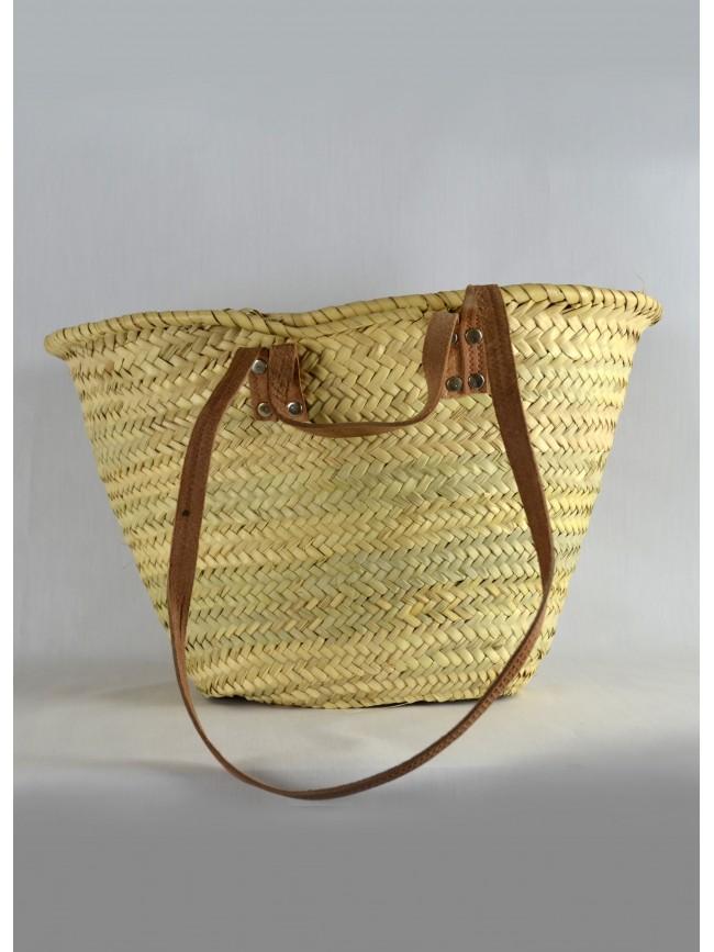 Palm basket, grab handles and shoulder strap.