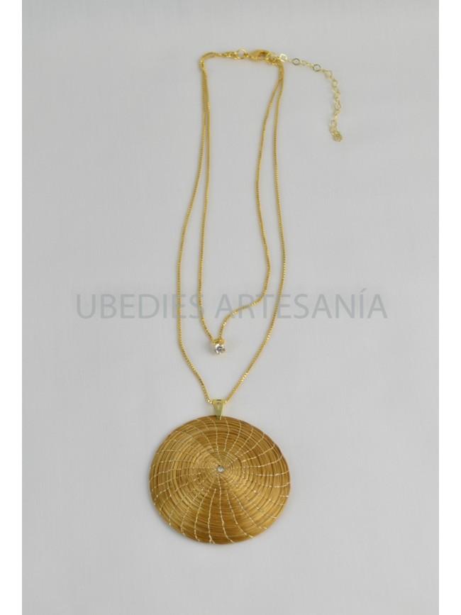 Mandala pendant double metal chain.