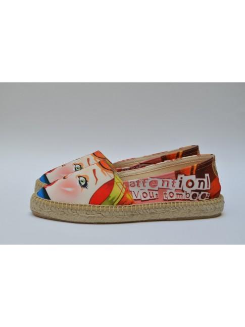 Pin Ups espadrilles for women, model TOMBEREZ. Jute flat sole.