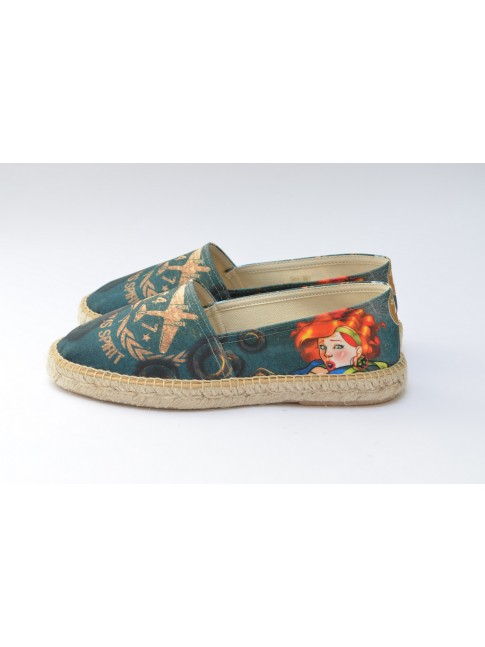 Pin Ups espadrilles for men, model AVENTURA. Jute flat sole.