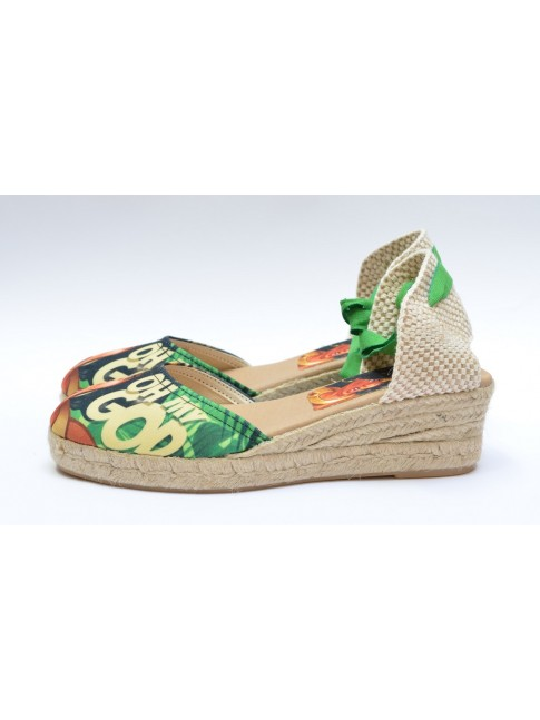 "Pin Ups espadrilles for women, ""DIANA"" model. Jute wedge, 3 cuerdas (5 cm.)"