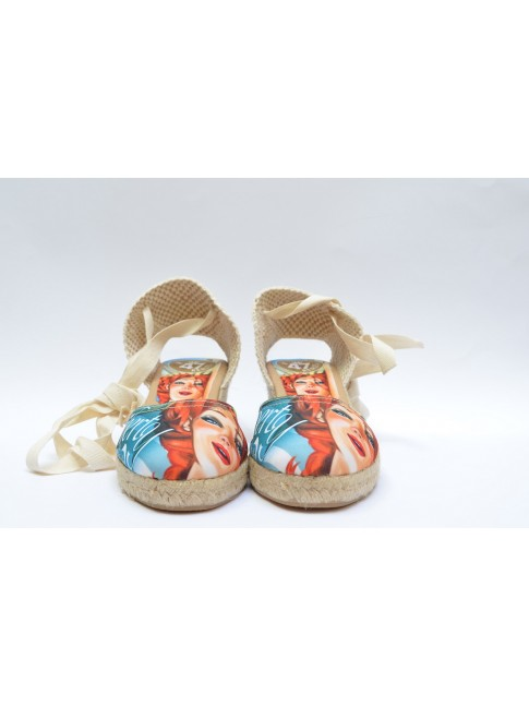"Pin Ups espadrilles for women, ""LIBERTY"" model. Jute wedge, 3 cuerdas (5 cm.)"