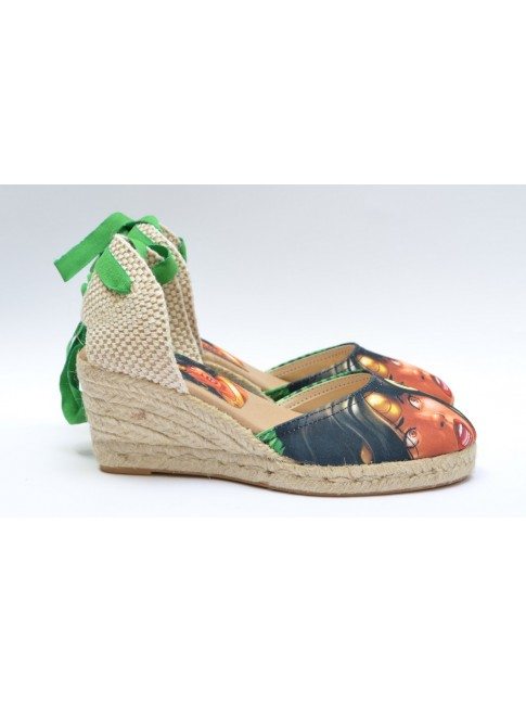 "Pin Ups espadrilles for women, ""DIANA"" model. Jute wedge, 5 cuerdas (7 cm.)"