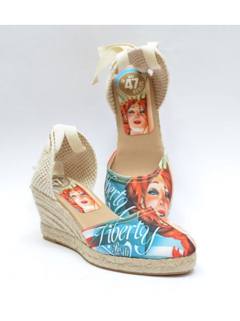 "Pin Ups espadrilles for women, ""LIBERTY"" model. Jute wedge, 5 cuerdas (7 cm.)"