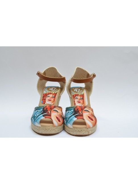 "Pin Ups espadrilles for women, ""LIBERTY"" model. Jute wedge, 7 cuerdas (9 cm.)"