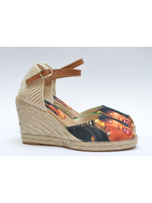 "Pin Ups espadrilles for women, ""DIANA"" model. Jute wedge, 7 cuerdas (9 cm.)"